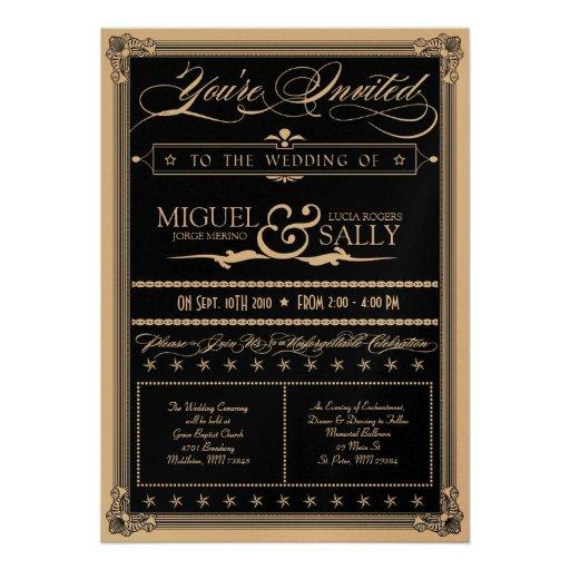 Metallic Gold & Black DIY Wedding Invitation