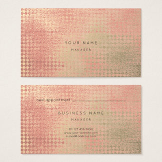 Metallic Gold Blush Diamond Cut Appointment Card