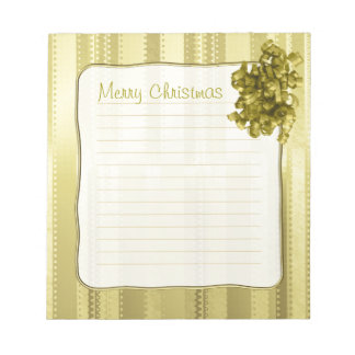Metallic Gold Christmas Stripes of  Ribbon Design Notepad