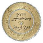 Metallic Gold Damask And Diamonds 50th Anniversary Plate