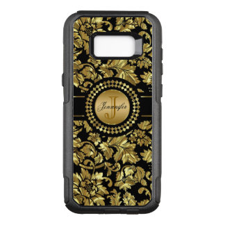 Metallic Gold Damask On Black Background OtterBox Commuter Samsung Galaxy S8+ Case