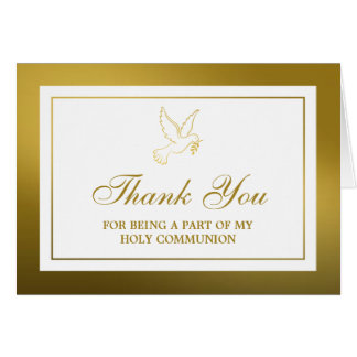 Metallic Gold Dove Holy Communion Or Confirmation Card