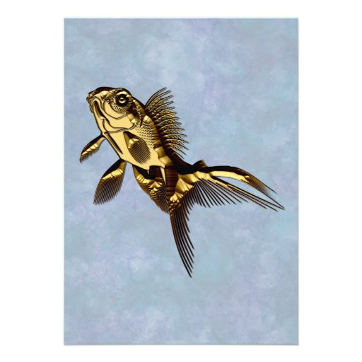 Metallic Gold Fish Custom Invites
