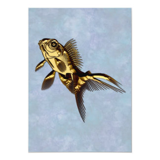 Metallic Gold Fish 13 Cm X 18 Cm Invitation Card