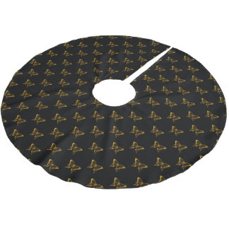 Metallic Gold Foil Butterflies on Black Brushed Polyester Tree Skirt