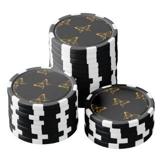 Metallic Gold Foil Butterflies on Black Poker Chips