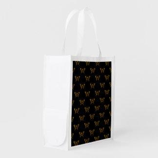 Metallic Gold Foil Butterflies on Black Reusable Grocery Bag