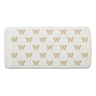 Metallic Gold Foil Butterflies on White Eraser