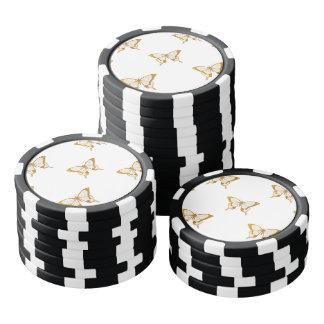 Metallic Gold Foil Butterflies on White Poker Chips