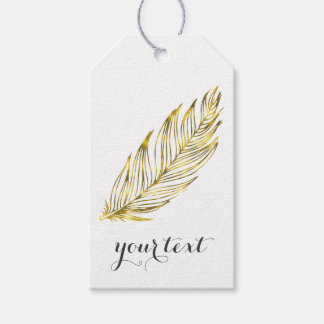 Metallic Gold Foil Feather Gift Tags