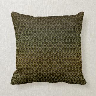 Metallic Gold Graphite Honeycomb Carbon Fibre Throw Pillow