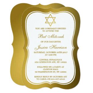 Metallic Gold Jewish Star Of David Bat Mitzvah Card