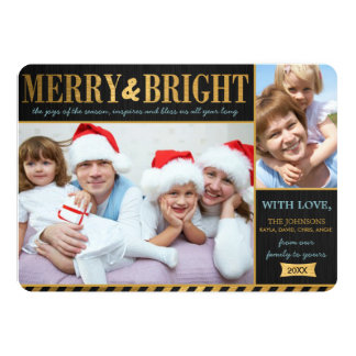 Metallic Gold Merry and Bright Holiday Card 13 Cm X 18 Cm Invitation Card