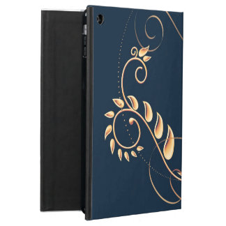 Metallic Gold Navy blue floral Cover For iPad Air