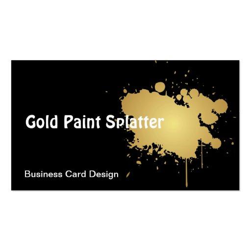 Metallic Gold Paint Splatter Business Card