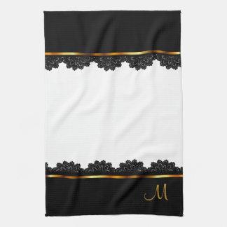 Metallic Gold & Pretty Black Lace Tea Towel