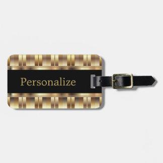 Metallic Gold Stripes | DIY Text Luggage Tag