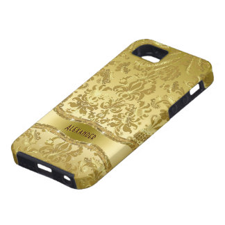 Metallic Gold Tones Vintage Floral Damasks Case For The iPhone 5