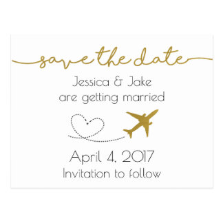Metallic Gold, Travel Save the Date Postcard