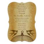 Metallic Gold Vintage Love Bird Wedding Invite