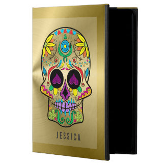 Metallic Gold With Colorful Sugar Skull