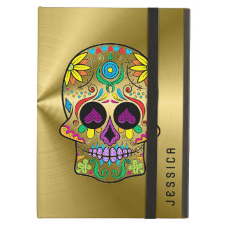 Metallic Gold With Colorful Sugar Skull iPad Air Cover