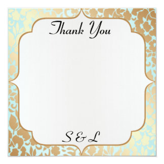 Metallic Golden Aqua Thank You Card 13 Cm X 13 Cm Square Invitation Card