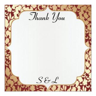 Metallic Golden Crimson Thank You Card 13 Cm X 13 Cm Square Invitation Card