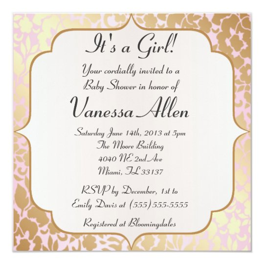 Metallic Golden Rose Pink Baby Shower Invitation