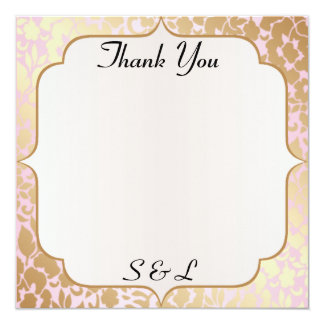 Metallic Golden Rose Pink Thank You Card 13 Cm X 13 Cm Square Invitation Card