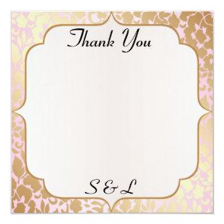 Metallic Golden Rose Pink Thank You Card 13 Cm X 13 Cm Square Invitation Card