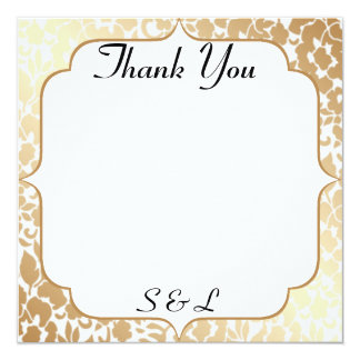 Metallic Golden White Floral Thank You Card 13 Cm X 13 Cm Square Invitation Card