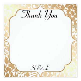 Metallic Golden White Floral Thank You Card 13 Cm X 13 Cm Square Invitation Card