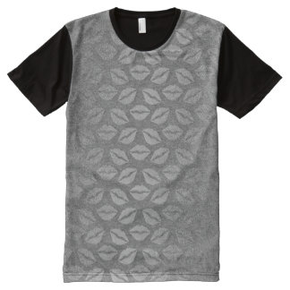 Metallic Graphite Gray Silver Kiss Makeup Lips All-Over Print T-Shirt