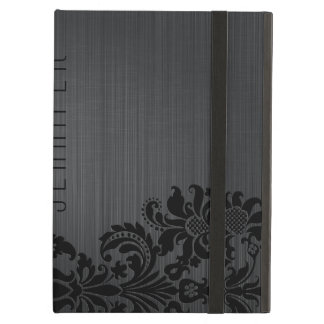 Metallic Gray Brushed Aluminum & Floral Damasks Case For iPad Air