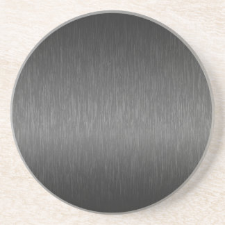 Metallic Gray Brushed Aluminum Look Beverage Coaster