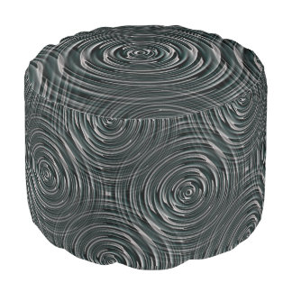 Metallic Gray Pouf