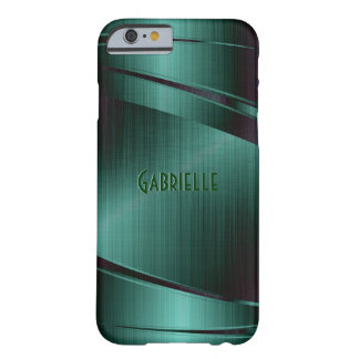 Metallic Green Design Brushed Aluminum Look Barely There iPhone 6 Case