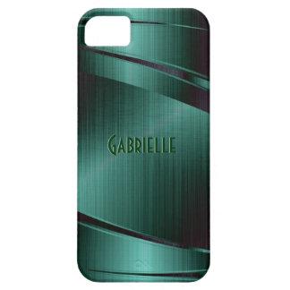 Metallic Green Design Brushed Aluminum Look iPhone 5 Cases