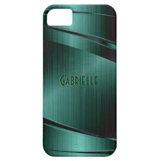 Metallic Green Design Brushed Aluminum Look iPhone 5 Cover