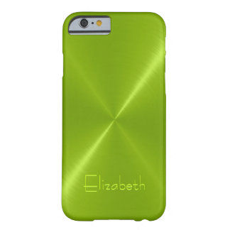 Metallic Green Stainless Steel Metal Look Barely There iPhone 6 Case