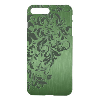 Metallic Green Texture Dark Green Floral Lace iPhone 8 Plus/7 Plus Case