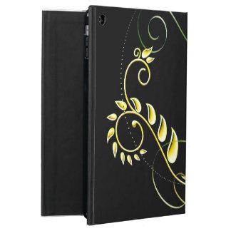 Metallic green yellow floral iPad air cover