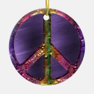 Metallic Grunge Purple Peace Sign Christmas Decor Ceramic Ornament