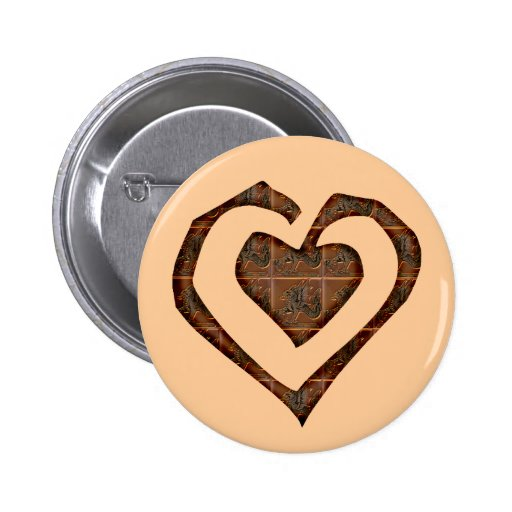 Metallic Heart T-shirts and Gifts Button