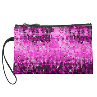 Metallic Hot Pink Sequins Look Disco Mirrors Bling Suede Wristlet