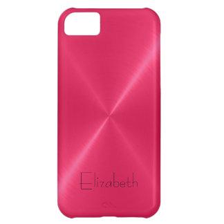 Metallic Hot Pink Stainless Steel Metal Look iPhone 5C Case
