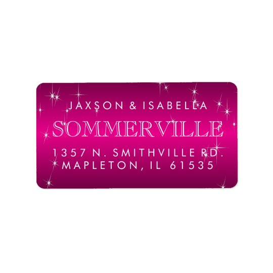 Metallic Hot Pink Star Light Design Address Label