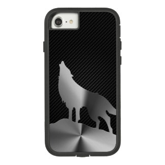 Metallic howling wolf with carbon fiber Case-Mate tough extreme iPhone 7 case