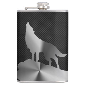 Metallic howling wolf with carbon fiber hip flask